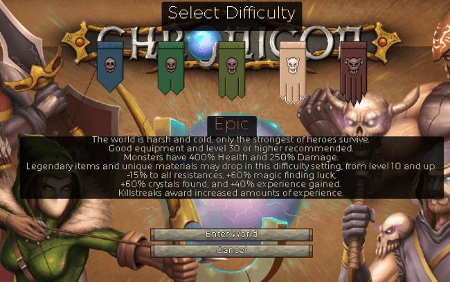 Chronicon難易度選択画面